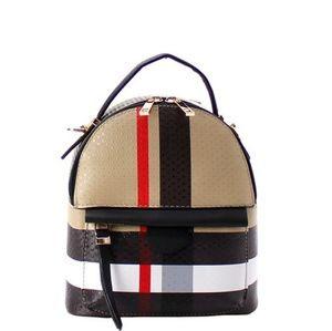 Handbags - FASHION INSPIRED LEATHER PLAID MINI BACKPACK BAG!